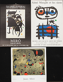 JOAN MIRO, affischer, färglitografi 1 st samt färgoffset 2 st.