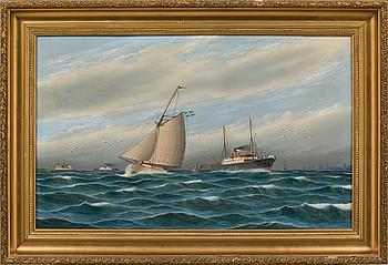 Oil on canvas by unknown artist, signed K E Vahlgren 1909.