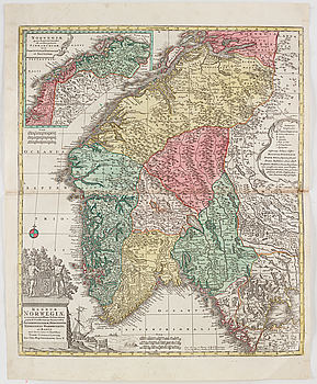 "MAP, TOBIAS CONRAD LOTTER, hand colored copper engraving  ""NORWEGIN FINMARCHIAM..."" from  Atlas Novus 1770."
