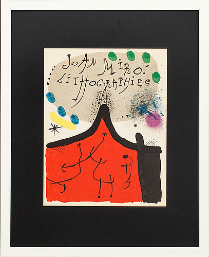 Joan mirÓ, colour lithographe, unsigned, from miró lithographe i