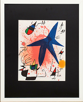 JOAN MIRÓ, colour lithographe, unsigned, from Miró Lithographe I.