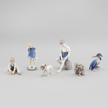 Six porcelain figurines, by Bing & Grøndahl, second half of the 20th century.