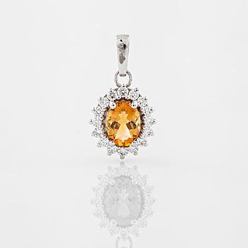 HÄNGE, med citrin 1.05 ct samt briljantslipade diamanter 0.36 ct.