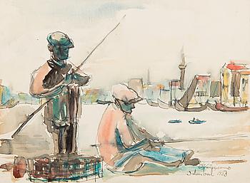 OIVA VIINIPURO, akvarell, signerad och daterad Istanbul 1953.