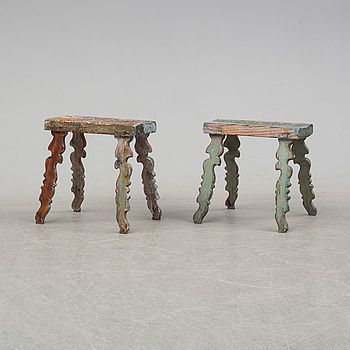 Two 19th century wooden stools.