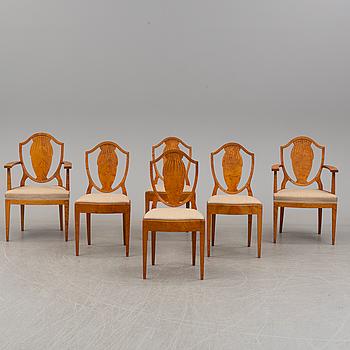 FERDINAND BOBERG, 4 stolar samt 2 karmstolar, Nordiska Kompaniet, 1900-talets andra kvartal.