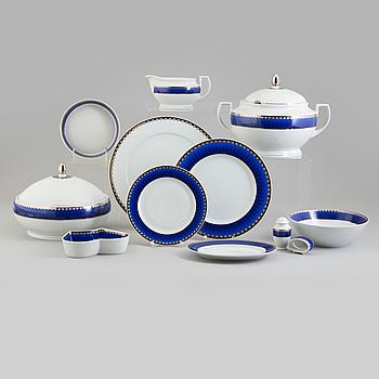 """SIGVARD BERNADOTTE, SERVIS, 84+ 13 delar,porslin. """"Christineholm"""" eller """"Marianne Royal Blue"""", Millenium, design, 2000."""
