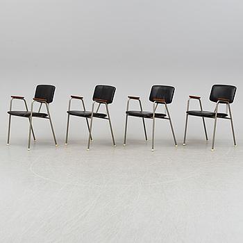 Four tubular steel armchairs, 1950's.