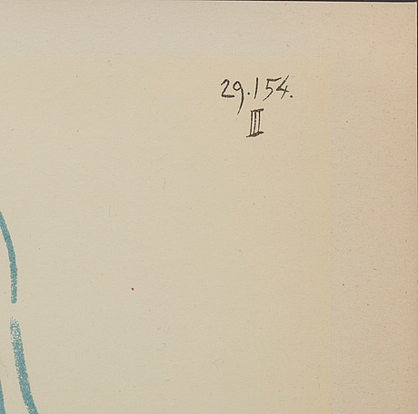 Pablo picasso, efter, färglitografi, ur verve 29 30, tryckt hos mourlot, paris 1954, daterad i trycket