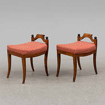 EMPIRE, A pair swedish of stools, first half of the 19th century.