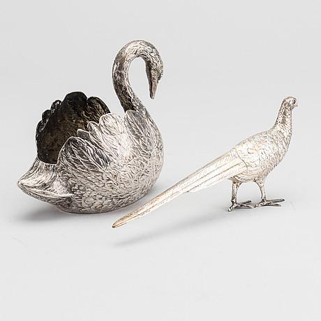 FÅglar, 2 st, silver