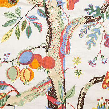 "JOSEF FRANK, överkast, linnekretong, ""Vegetable Tree"", Svenskt Tenn."
