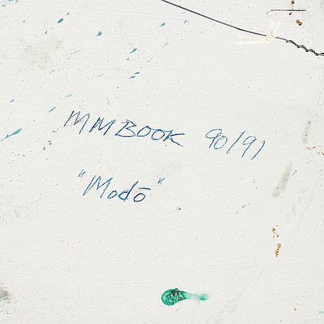 Max mikael book, mixed media on panel, signed and dated 90/91 on verso.