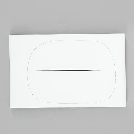 Lucio fontana, unglazed porcelain multiple, signed on verso on affixed ceramic label and numbered 70/75.
