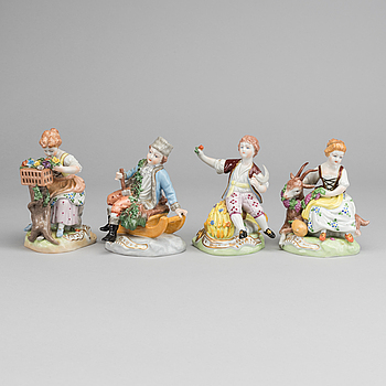 FOUR DRESDEN FIGURINES.