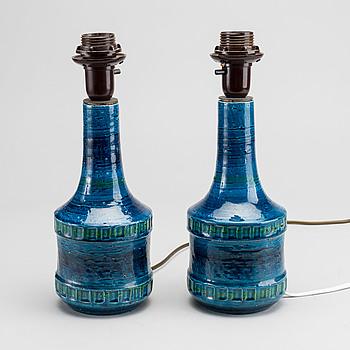 Bordslampor, ett par, stengods, 1900-talets mitt.