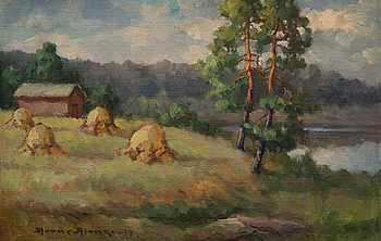 AARNE ALANKO, oil on canvas laid on board, signed and dated -34.