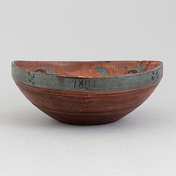 SKÅL, allmoge, trä, märkt ONS och daterad 1820.