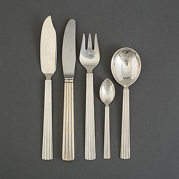 "SIGVARD BERNADOTTE, bestickservis, 41 delar, silver, ""Bernadotte"", Georg Jensen, Danmark, 1900-talets andra hälft."