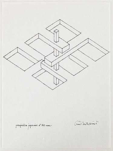 Oscar reutersvÄrd, 10 ink drawings, signed