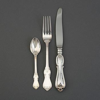 """BESTICKSERVIS, 43 delar, silver, """"Olga"""". GAB, 1900-tal."""