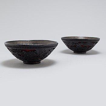 SKÅLAR, ett par, lackarbete, Kina, tidigt 1900-tal.