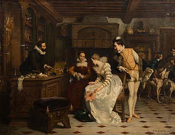 298. Pierre Charles Comte, JEANNE III OF NAVARRE BUYING POISONED GLOVES FROM CATHERINE DE MEDICI'S PARFUMEUR, RENÉ.