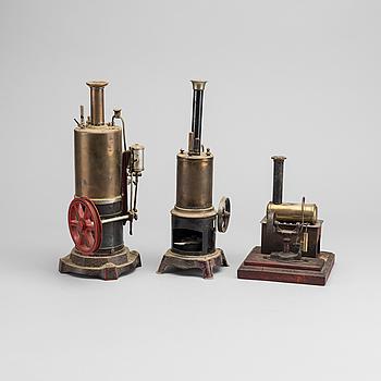 ÅNGMASKINER, 3 st, två Bing/Gebrüder Bing GBN, Tyskland, 1900-talets första hälft.
