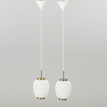 A pair of China pendant ceilinglamps, Bent Karlby for Lyfa, Denmark.