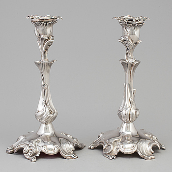 GUSTAF MÖLLENBORG Firma, ljusstakar, ett par, silver, nyrokoko, Stockholm 1872.