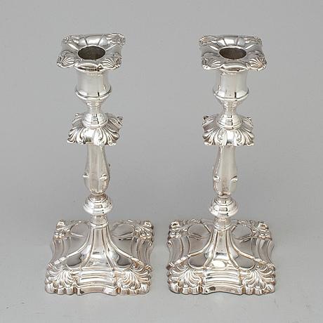 Ljusstakar, ett par, silver, martin, hall & co. london 1889