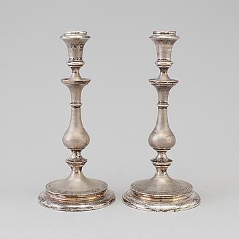 LARS LARSON & CO, ljusstakar, ett par, silver, Stockholm, 1869.