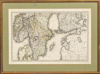 SAMUEL JOHN NEELE, karta delvis kolorerat kopparstick.