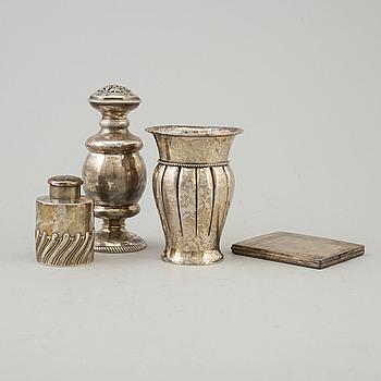 SILVERFÖREMÅL, 4 st, 1800-1900-tal.