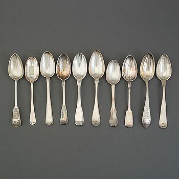 SKEDAR, 10 stycken, silver, 17- och 1800-tal. Danmark, Ryssland, Storbritannien och Sverige.