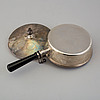 Cg hallberg, a parcel-gilt silver pan with cover, stockholm, 1914.