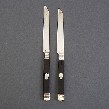 12 french silver and ebony fruit knives, 1809-19.
