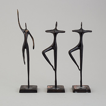 BODRUL KHALIQUE, skulpturer, 3 st, metall, 2000-tal.