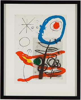 JOAN MIRÓ, färglitografi, ur Derrière le Miroir nr 151-152, 1965.