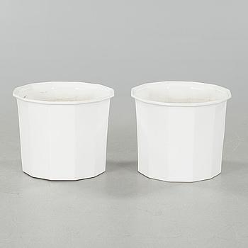 "A pair of ""Octavius"" porcelain pots, designed by Karin Björquist for Gustavsberg."