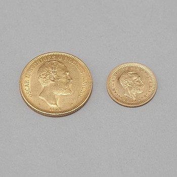 OSKAR II, 2 st. guldmynt, 20 och 5 kronor, daterade 1874 resp 1886.
