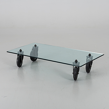 "A COFFEE TABLE ""Tavolo con Ruote"", by Gae Aulenti, Fontana Arte, Italy."