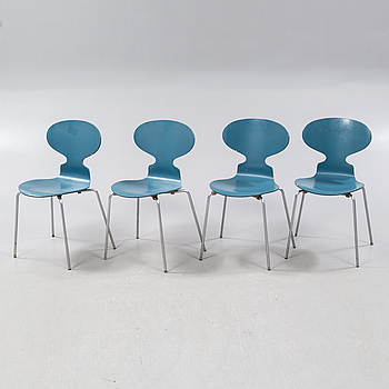 "Four ""Ant"" chairs, designed by Arne Jacobsen, by Fritz Hansen 1970."
