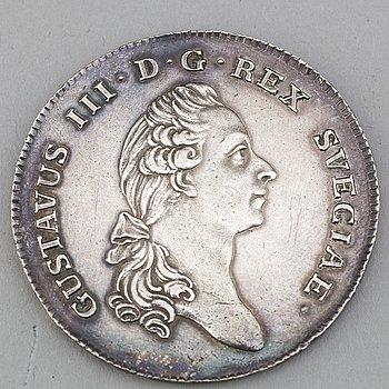 GUSTAV III, silvermynt, 1 Riksdaler 1782.