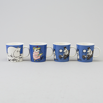 ARABIA, Four Moomin Characters porcelain mugs from Arabia, Finland.