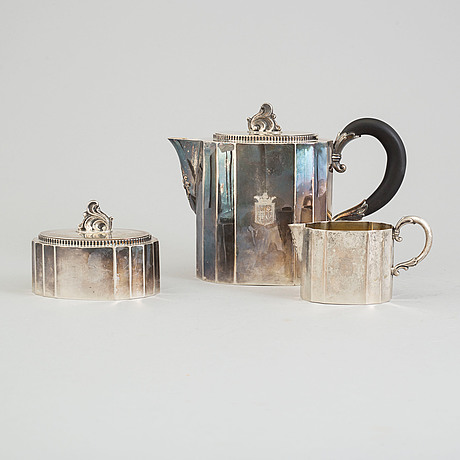 Three pieces silver coffee set from karl anderson, stockholm, 1940-41.