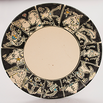 A ceramic bowl, signed and dated 1995.