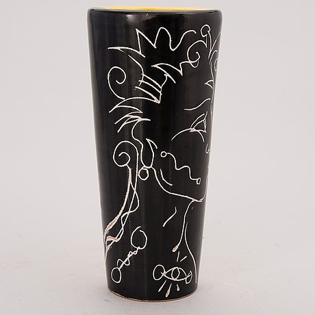 A ceramic vase, signed and dated with a dedication