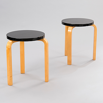 Two Mid 20th Century '60' stools for Artek.