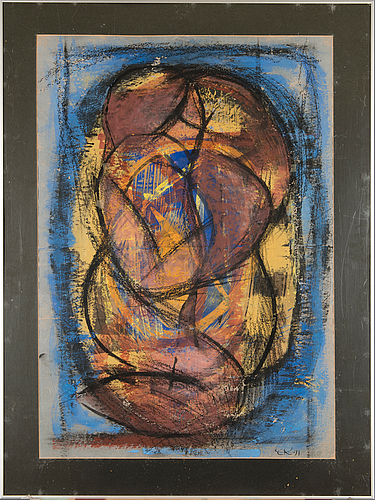 Mixed media, signed and dated  91